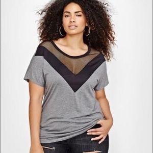 LOVE & LEGEND Camo tee with mesh neckline detail